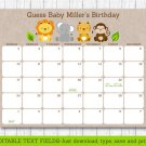 Cute Jungle Safari Animals Printable Baby Due Date Calendar Editable PDF #A398