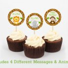 Cute Jungle Safari Animals Cupcake Toppers Party Favor Tags Printable #A398