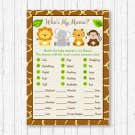 Cute Jungle Safari Animals Baby Shower Baby Animal Match Game Printable #A398