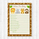 Cute Jungle Safari Animals Printable Baby Shower Wishes For Baby Advice Cards #A398