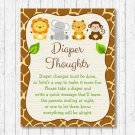 Cute Jungle Safari Animals Diaper Thoughts Late Night Diaper Baby Shower Game #A398