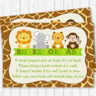 Cute Jungle Safari Animals Printable Baby Shower Book Request Cards #A398