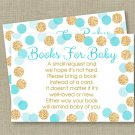 Blue & Gold Glitter Dots Printable Baby Shower Book Request Cards #A399