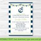 Nautical Anchor Blue & Green Printable Baby Shower Invitation Editable PDF #A394