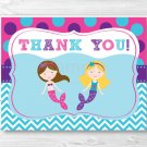 Mermaid Birthday Pool Party Thank You Card Printable #A363