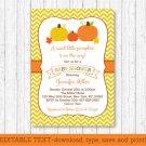 Pumpkin Chevron Gender Neutral Printable Baby Shower Invitation Editable PDF #A400