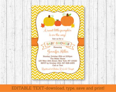 Pumpkin Chevron Gender Neutral Printable Baby Shower Invitation Editable PDF #A400