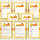 Pumpkin Chevron Gender Neutral Baby Shower Games Pack - 8 Printable Games #A400