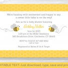 Yellow & Grey Bumble Bee Printable Baby Shower Invitation Editable PDF #A359