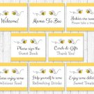 Yellow & Grey Bumble Bee Baby Shower Table Signs - 8 Printable Signs #A359