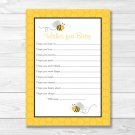 Yellow & Grey Bumble Bee Printable Baby Shower Wishes For Baby Advice Cards #A359