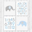 Blue Chevron Elephant Printable Nursery Wall Art #A187