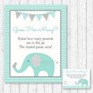"Mint Green & Grey Chevron Elephant Baby Shower ""Guess How Many?"" Game Cards #A375"