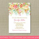 Fall Floral Autumn Flowers Printable Baby Shower Invitation Editable PDF #A401