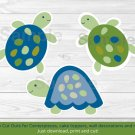 Sea Turtles Under The Sea Reef Turtles Party Cutouts Decorations Printable #A144