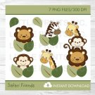 Safari Jungle Animals Lion Giraffe Zebra Monkey Clipart #A169