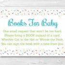 Baby Sprinkle Rainbow Blue Printable Baby Shower Book Request Cards #A386