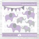 Lavender Polka Dot Jungle Elephant Clipart #A242
