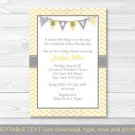 Modern Yellow Chevron Printable Baby Shower Invitation Editable PDF #A356