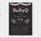 Pink Chalkboard BaByQ BBQ Printable Baby Shower Invitation Editable PDF #A366