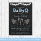 Blue Chalkboard BaByQ Coed BBQ Printable Baby Shower Invitation Editable PDF #A402