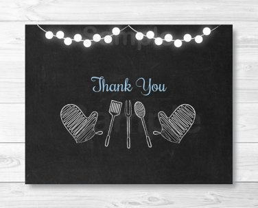 Blue Chalkboard BaByQ Coed Baby Shower BBQ Thank You Card Printable #A402