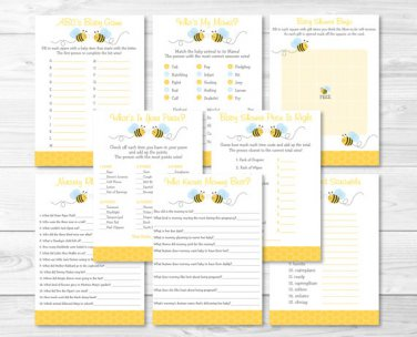 Bumble Bee Yellow & Blue Baby Shower Games Pack - 8 Printable Games #A134