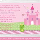 Princess Frog Pink Castle Printable Baby Shower Invitation Editable PDF #A209