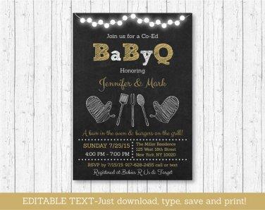Gold Chalkboard BaByQ Coed BBQ Printable Baby Shower Invitation Editable PDF #A403
