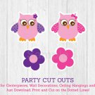 Pink & Purple Owl Party Cutouts Decorations Printable #A133
