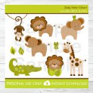 Baby Safari Jungle Lion Monkey Elephant Giraffe Frog Alligator Clipart #A109