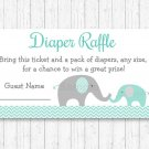 Mint Green & Grey Chevron Elephant Printable Baby Shower Diaper Raffle Tickets #A375