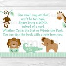 Baby Safari Animals Gender Neutral Printable Baby Shower Book Request Cards #A404