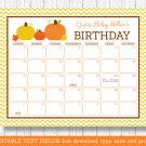 Pumpkin Chevron Gender Neutral Printable Baby Due Date Calendar Editable PDF #A400