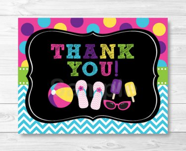 Girls Pool Party Chalkboard Thank You Card Printable #A258