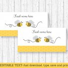 Yellow & Grey Bumble Bee Buffet Tent Cards & Place Cards Editable PDF #A359