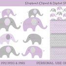 Purple Chevron Elephant Chevron Pattern Clipart & Digital Paper #A184