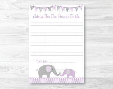 Purple Chevron Elephant Printable Baby Shower Mommy Advice Cards #A184