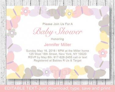 Mod Pastel Butterflies Printable Baby Shower Invitation Editable PDF #A405