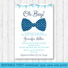 Little Man Chevron Bow Tie Oh Boy Printable Baby Shower Invitation Editable PDF #A369