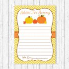 Pumpkin Chevron Gender Neutral Printable Baby Shower Mommy Advice Cards #A400