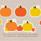 Pumpkin Chevron Orange Yellow Gender Neutral Party Cutouts Decorations Printable #A400