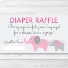 Pink Elephant Chevron Mom & Baby Printable Baby Shower Diaper Raffle Tickets #A246
