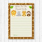 Cute Jungle Safari Animals Printable Baby Shower Mommy Advice Cards #A398