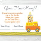 "Yellow Construction Trucks Printable Baby Shower ""Guess How Many?"" Game Cards #A117"