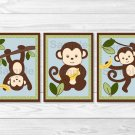 Cute Little Monkey Printable Nursery Wall Art #A406