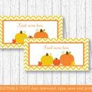 Pumpkin Chevron Gender Neutral Buffet Tent Cards & Place Cards Editable PDF #A400