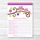 Owl Blossom Pink & Purple Printable Baby Shower Wishes For Baby Advice Cards #A133