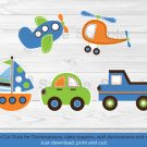 Transportation Vehicles Car Sailboat Plane Printable Party Cutouts Decorations #A111