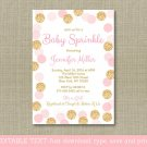 Blush Pink & Gold Baby Sprinkle Printable Baby Shower Invitation Editable PDF #A380